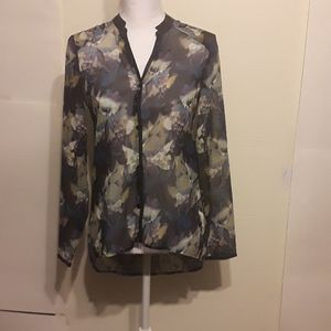 Mossimo Sheer Floral Long Sleeves Tops XS